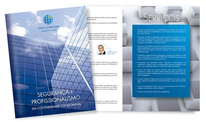 Folder escritório advocacia e contabilidade. Folder de advogados especializados em direito imobiliário, bem como contabilidade condominal