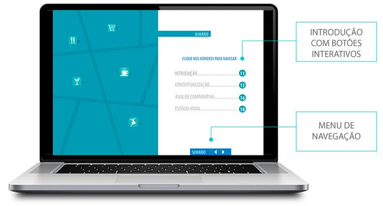 Apresentação de empresa em PDF com índice interativo