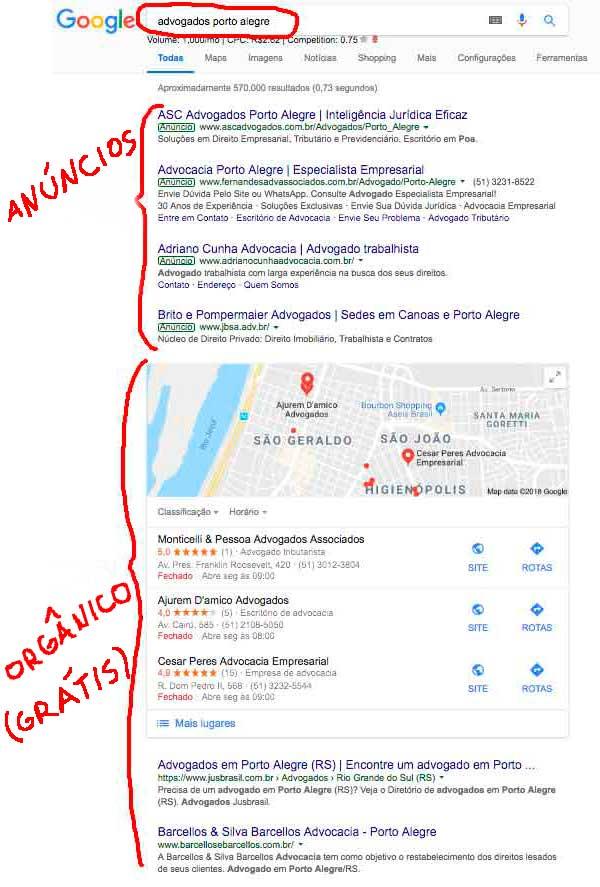 Site jurídico na primeira página do Google