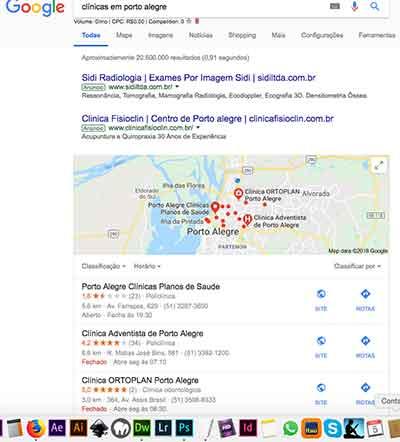 Anúncio no Google e mapa do Google
